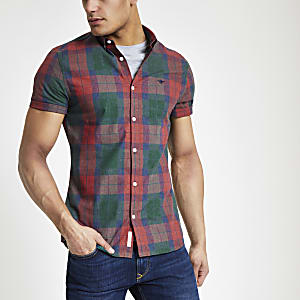 Red check short sleeve slim fit shirt