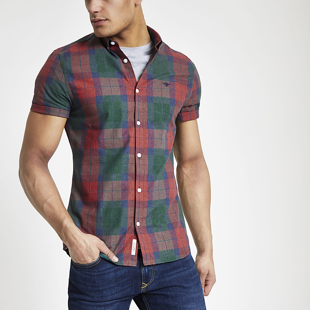 61af3493f2 Red check short sleeve slim fit shirt
