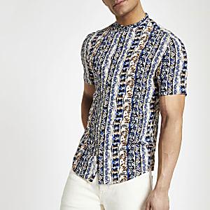 White Aztec grandad short sleeve shirt