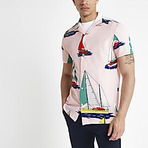 Pink boat print short sleeve shirt
