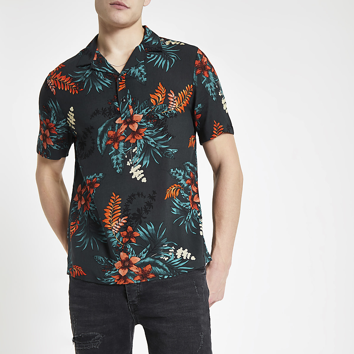 Black floral three button short sleeve shirt