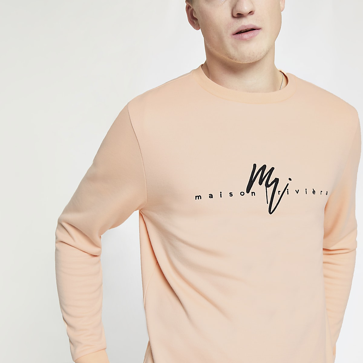 Orange 'Maison Riviera' slim fit sweatshirt