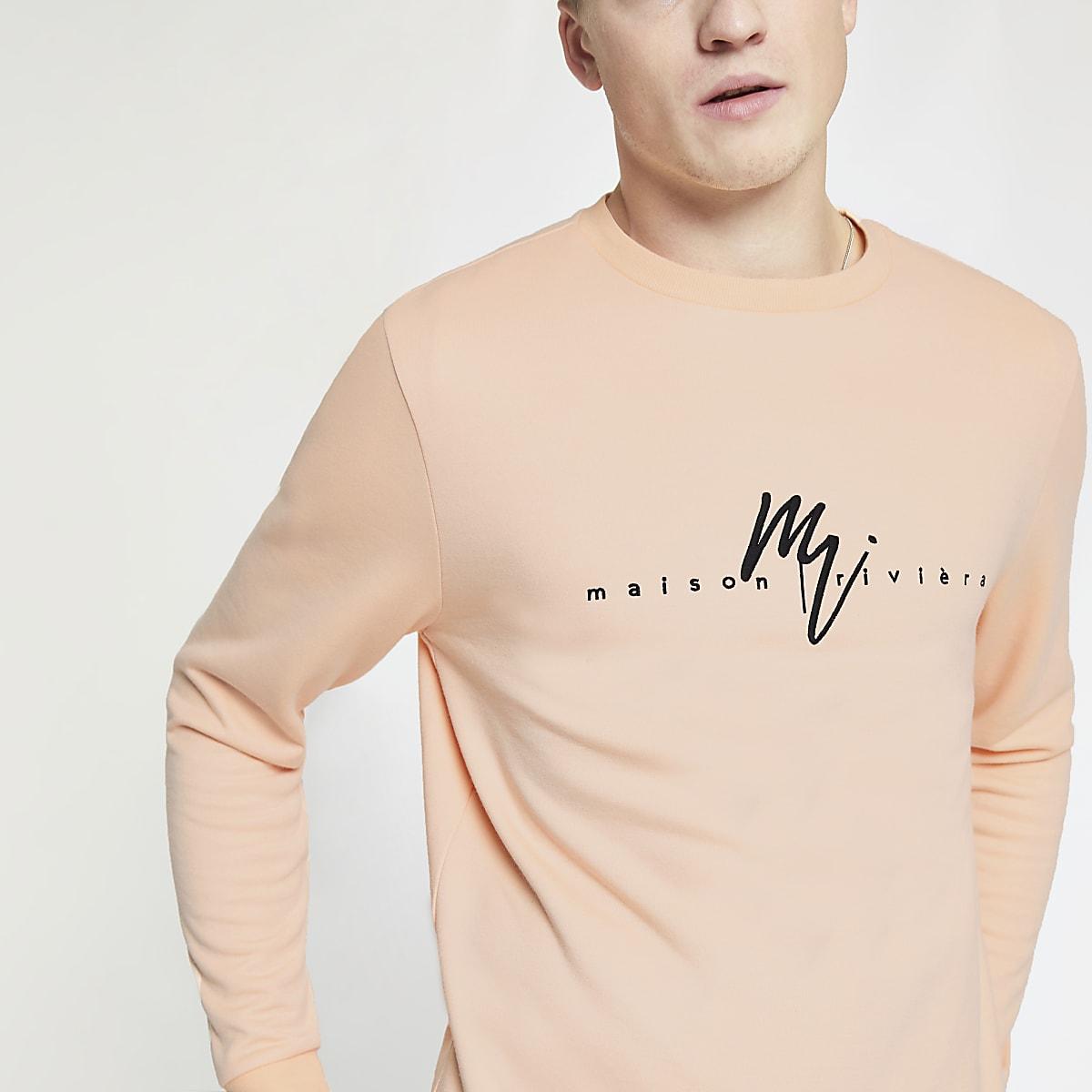 """Slim Fit Sweatshirt """"Maison Riviera"""" in Orange"""