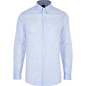 Blue stripe muscle fit shirt
