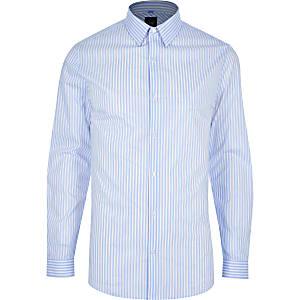 Blauw gestreept aansluitend overhemd