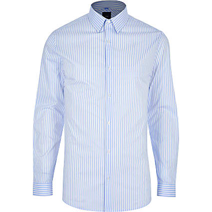 Blue stripe muscle fit long sleeve shirt