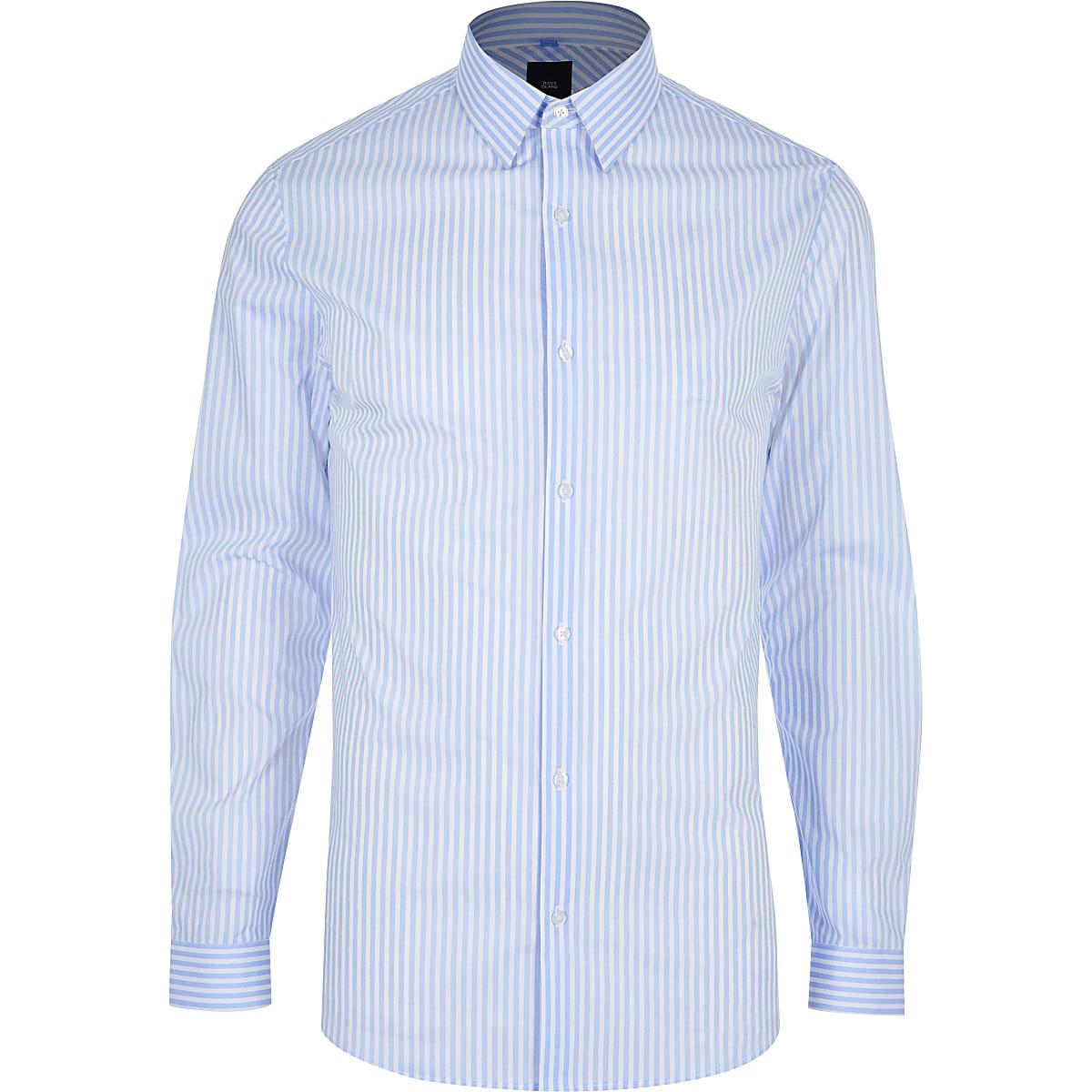 Rayée Longues Manches Bleue Chemises À Ajustée Fk1ct3lj Chemise QrsCxthd