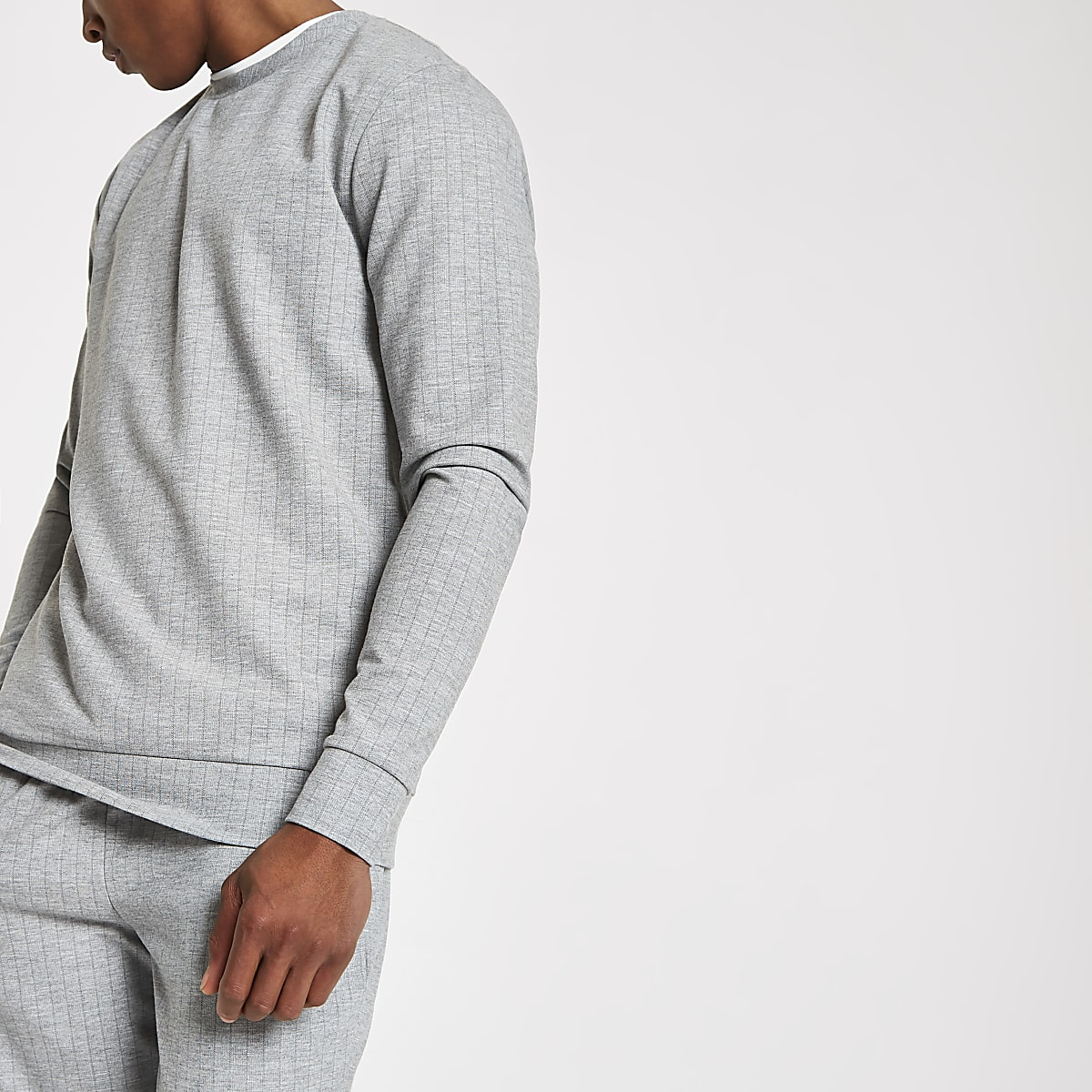 Grey crew neck slim fit sweatshirt