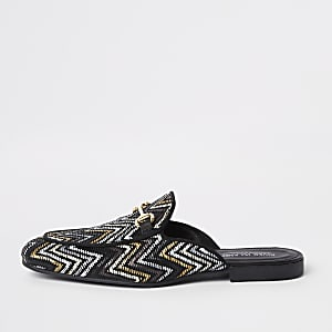 Zwart met goudkleurige geweven loafers zonder achterkant