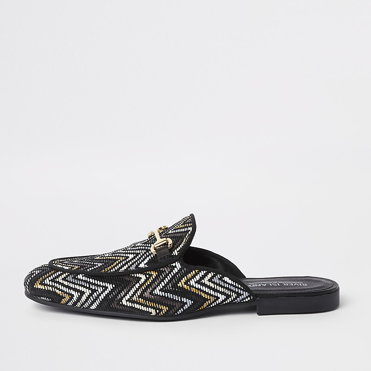 Black and gold woven backless loafer