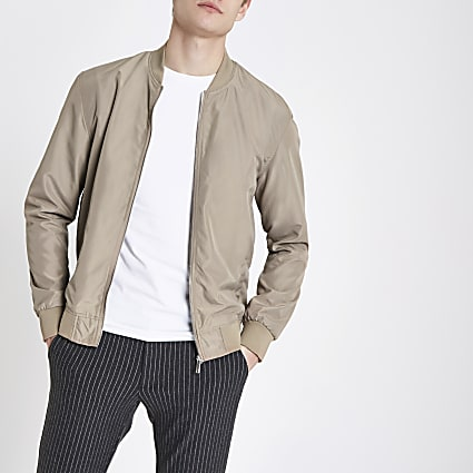 Stone long sleeve bomber jacket