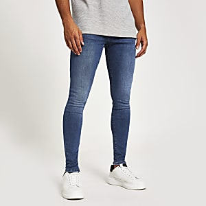 Mid blue Ollie spray on skinny jeans