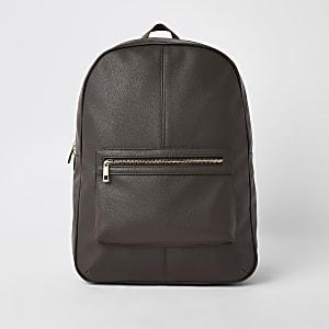 Brauner Rucksack aus Lederimitat
