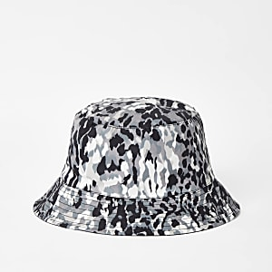 Khaki camo reversible bucket hat