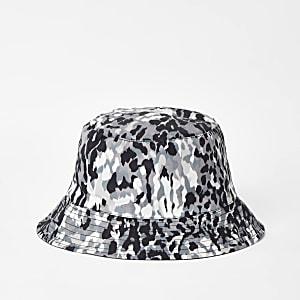 Kaki omkeerbare bucket hat met camouflageprint