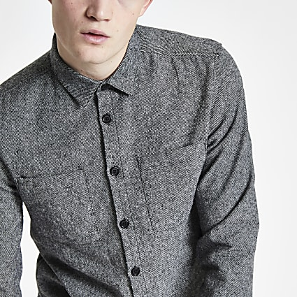 Grey button down long sleeve overshirt
