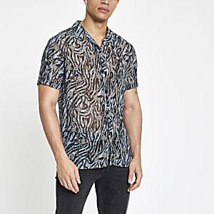 Blue sheer baroque print shirt
