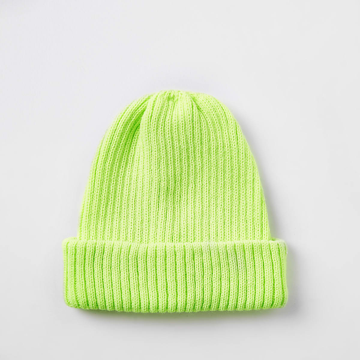 Neon yellow fisherman knit beanie hat