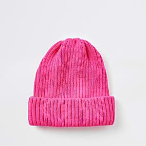 Neon pink fisherman knit beanie hat