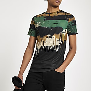 Khaki camo drip slim fit T-shirt