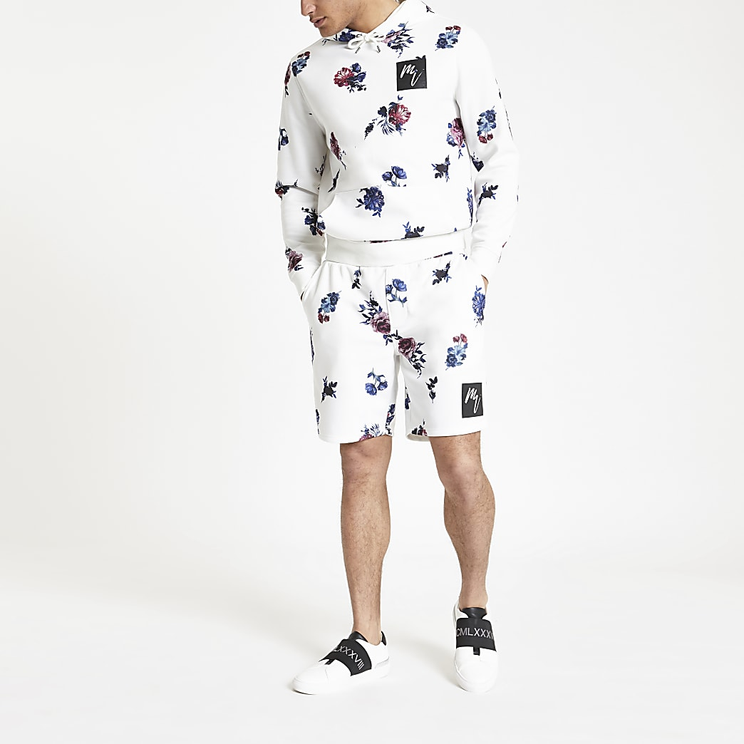 White floral slim fit jersey shorts