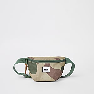 Herschel green Fourteen camo cross body bag