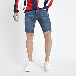 Short en jean skinny bleu moyen