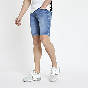 Mid blue skinny denim shorts