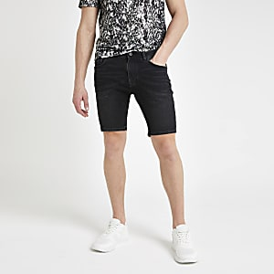 Black Sid skinny wash denim shorts
