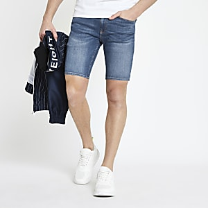 Mid blue Ollie skinny spray on shorts
