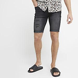 Ollie – Schwarze Skinny Jeansshorts