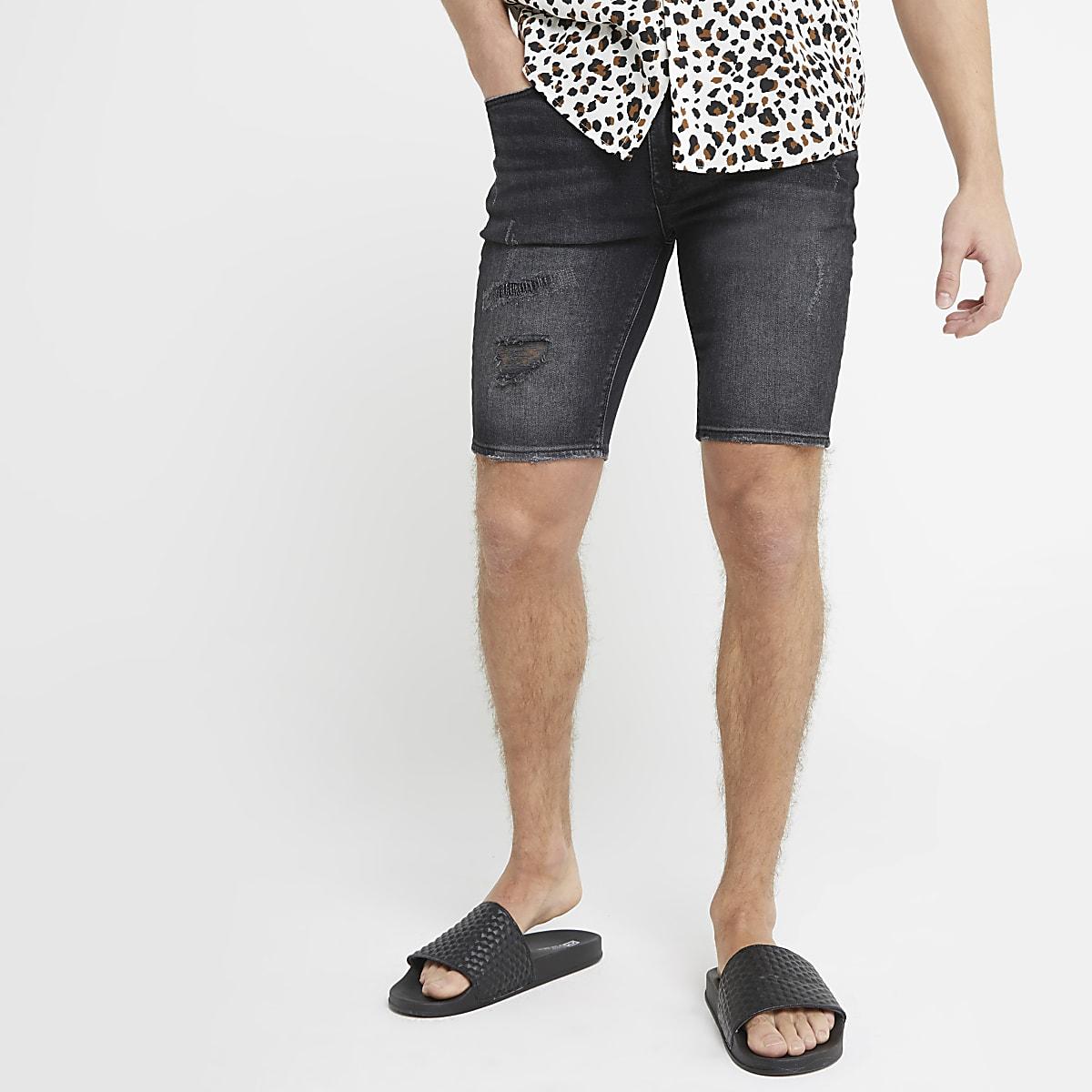 Ollie – Short ultra-skinny en denim noir