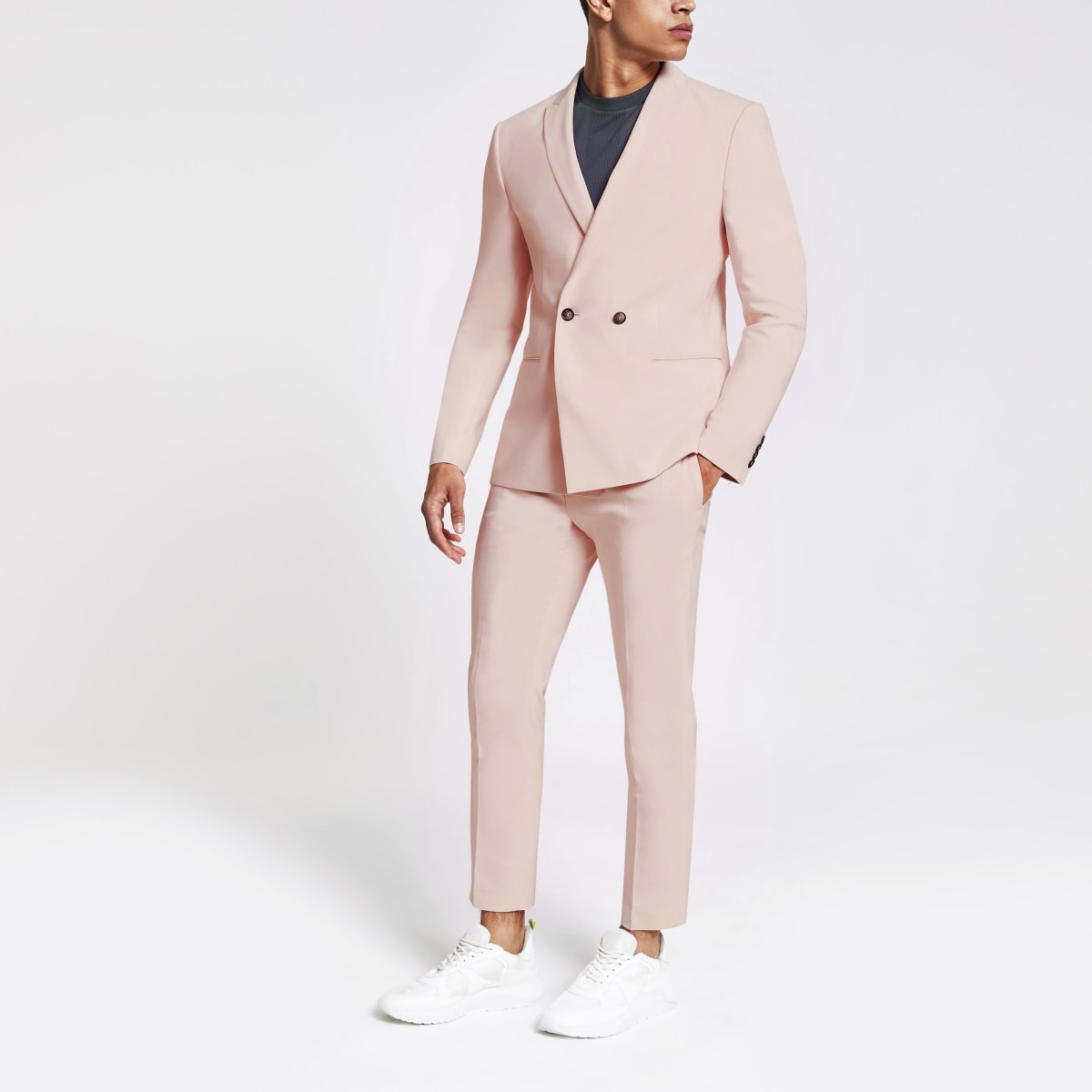 Skinny-Anzugsjacke in Pink