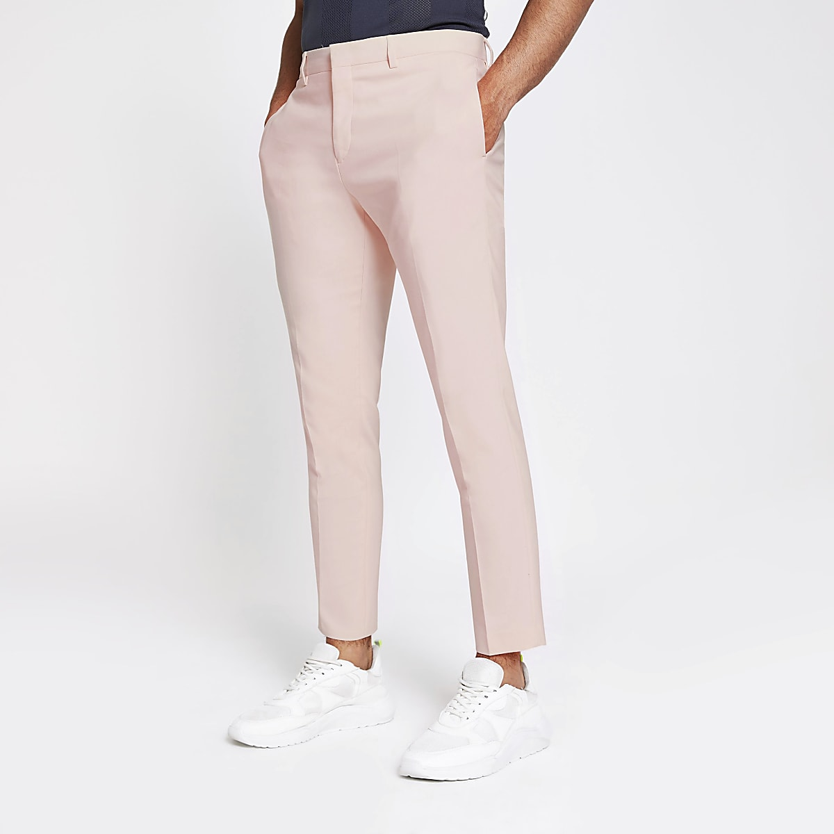 Pantalon de costume skinny rose