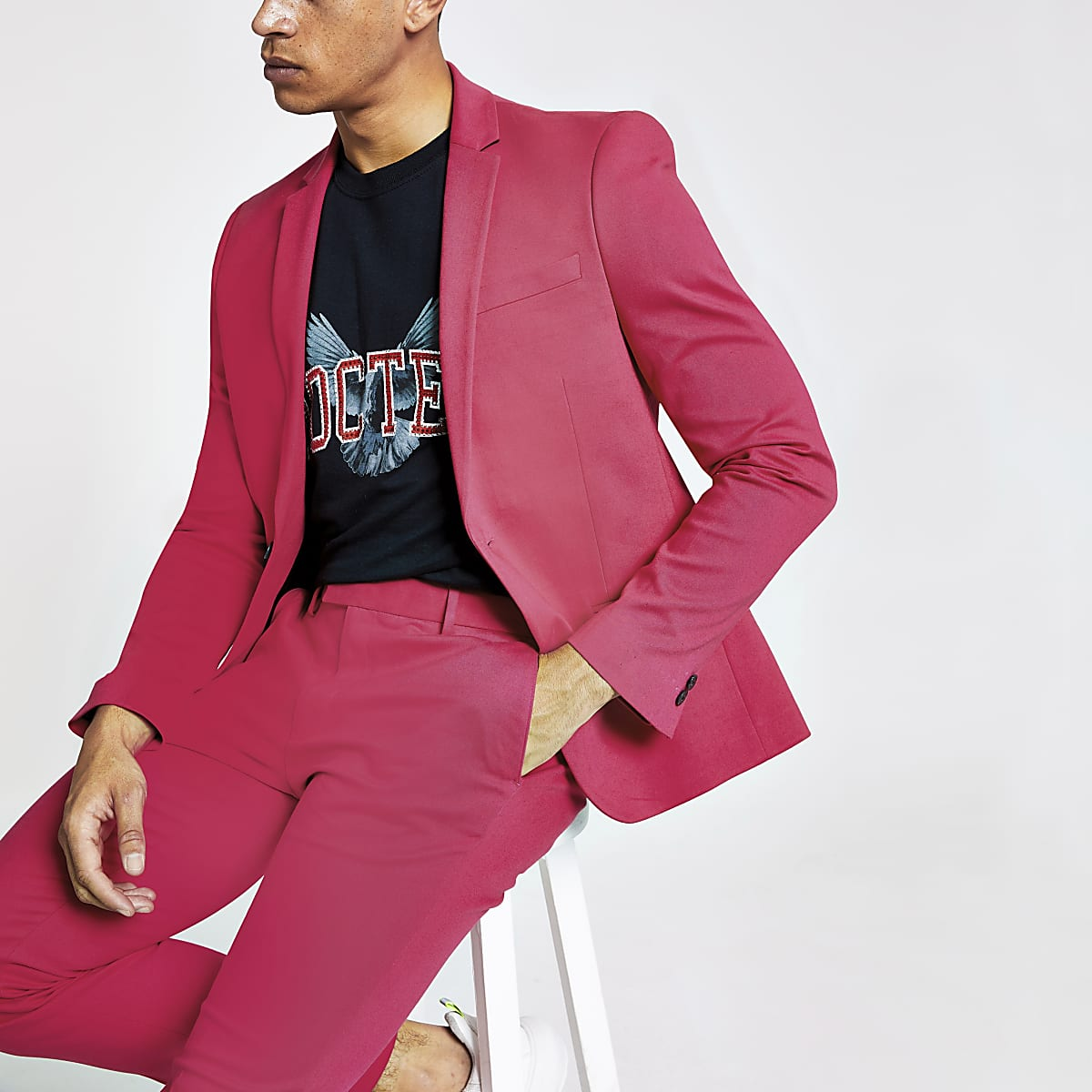 Neon pink super skinny suit jacket