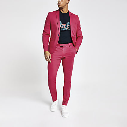 Neon pink super skinny suit trousers