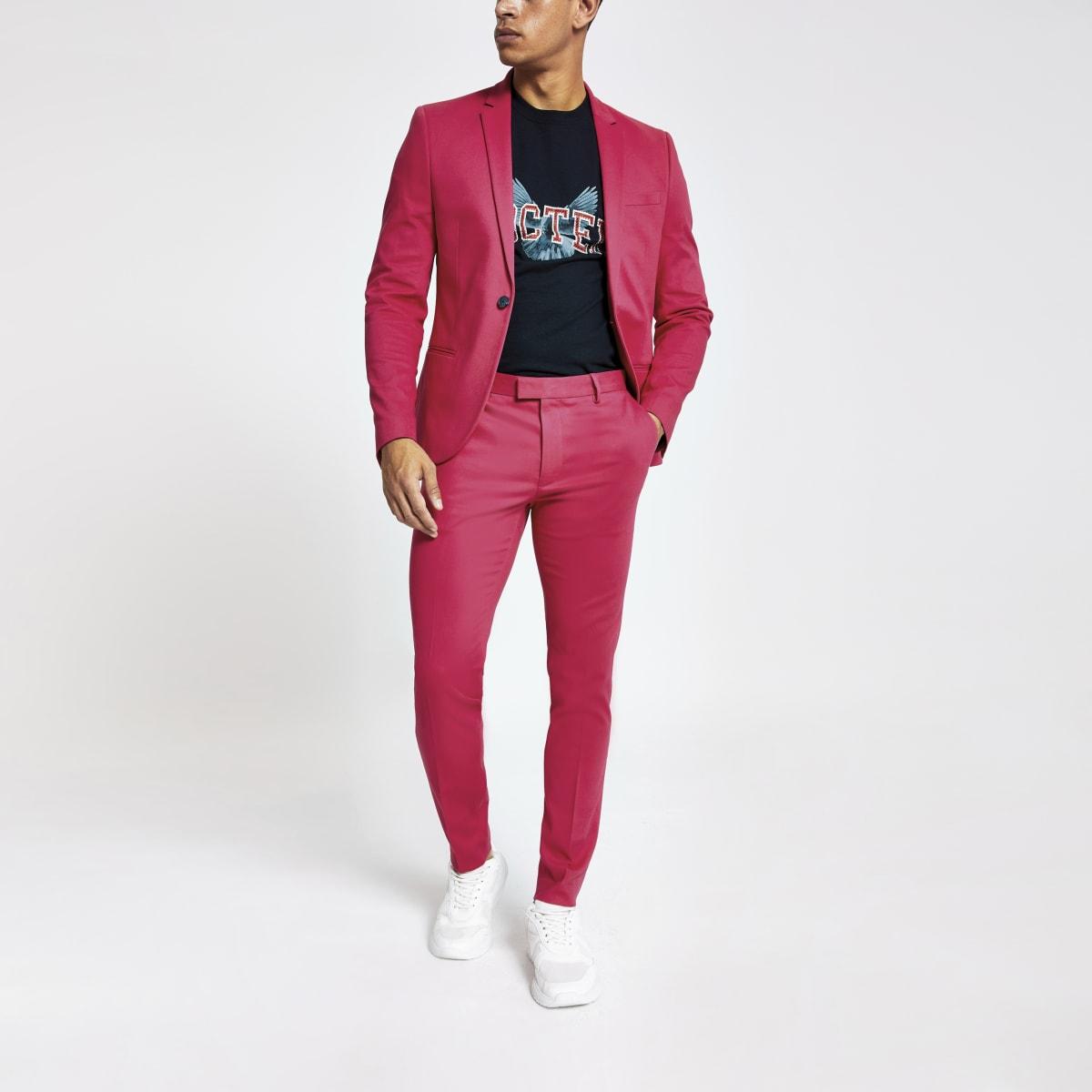 Neon pink super skinny suit pants
