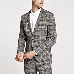 Braune, karierte Skinny Fit Anzugsjacke