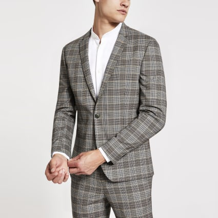Brown check super skinny fit suit jacket
