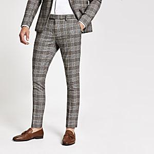 Pantalon de costume super skinny à carreaux marron