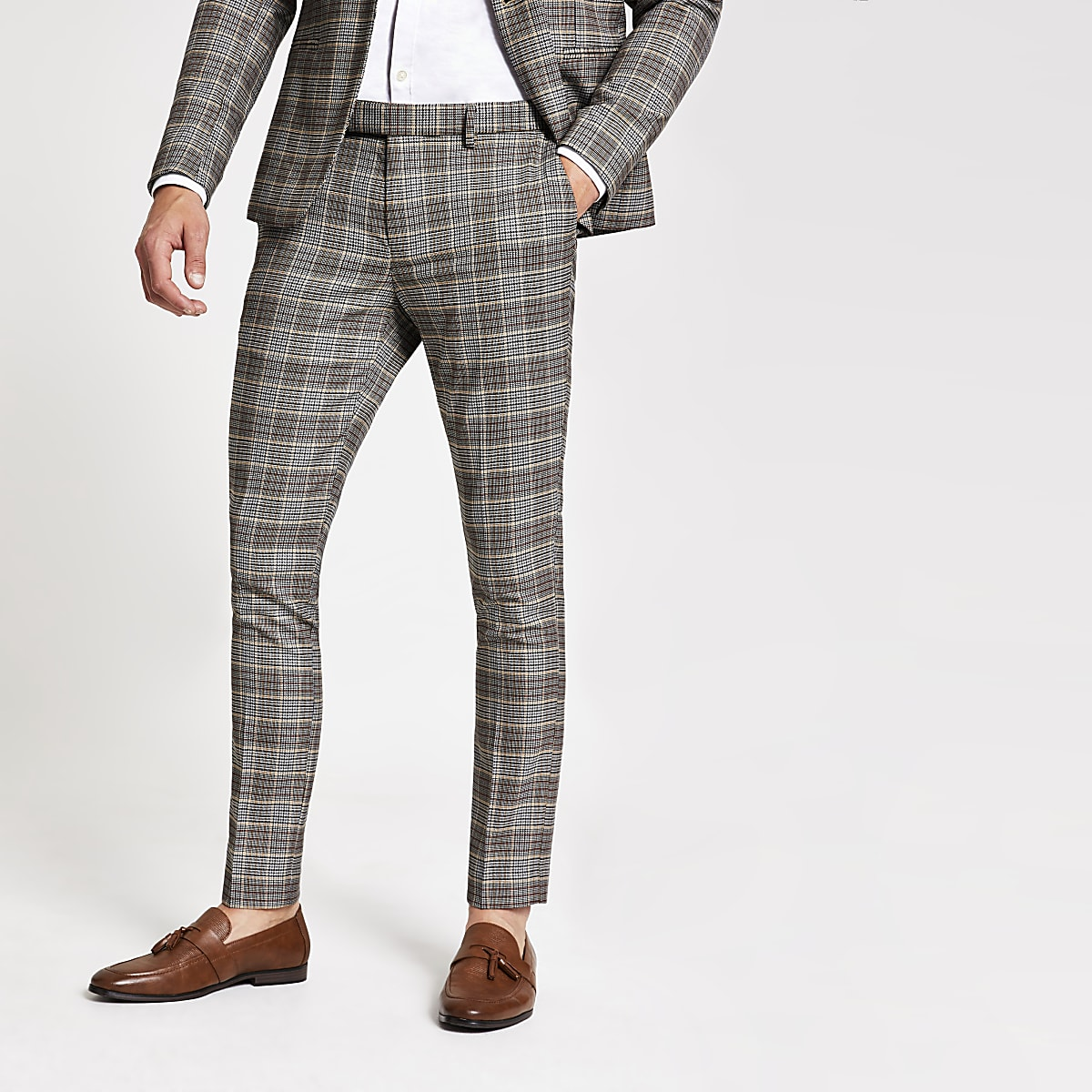 Brown check super skinny suit pants