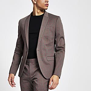 Braune Skinny Anzugsjacke mit Geo-Print