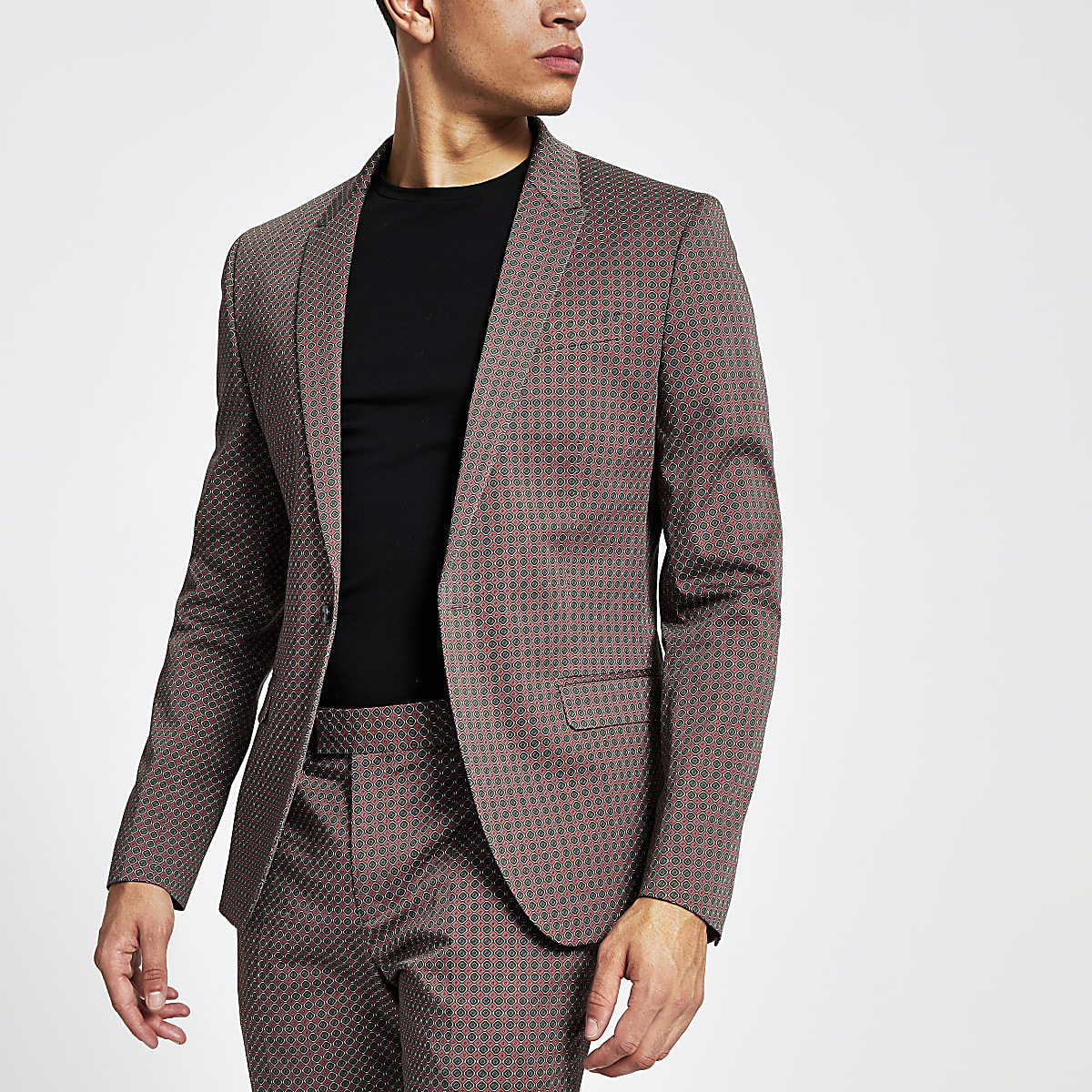 Veste de costume skinny à imprimé géométrique marron