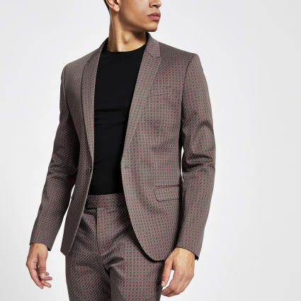 Brown geo print skinny suit jacket