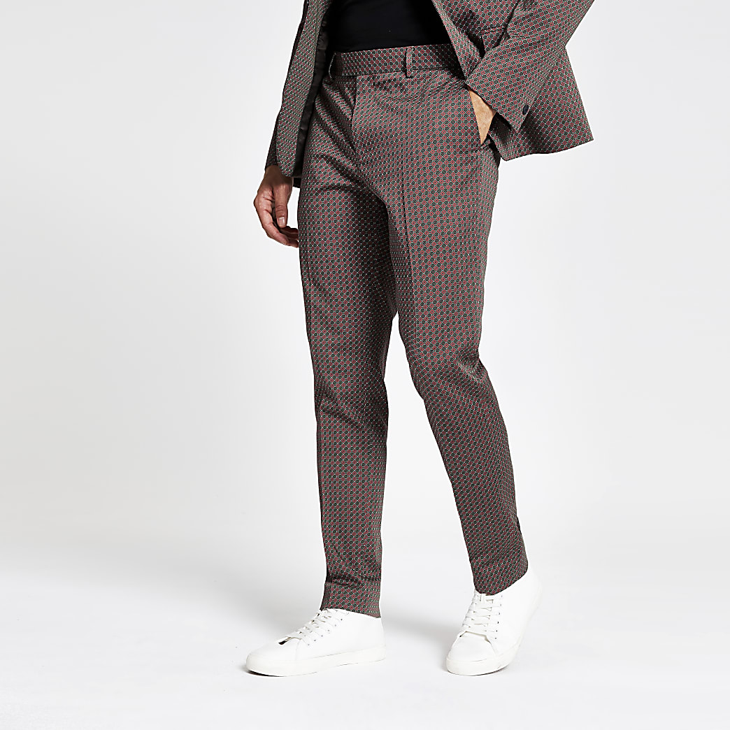 Brown geo print skinny suit trousers