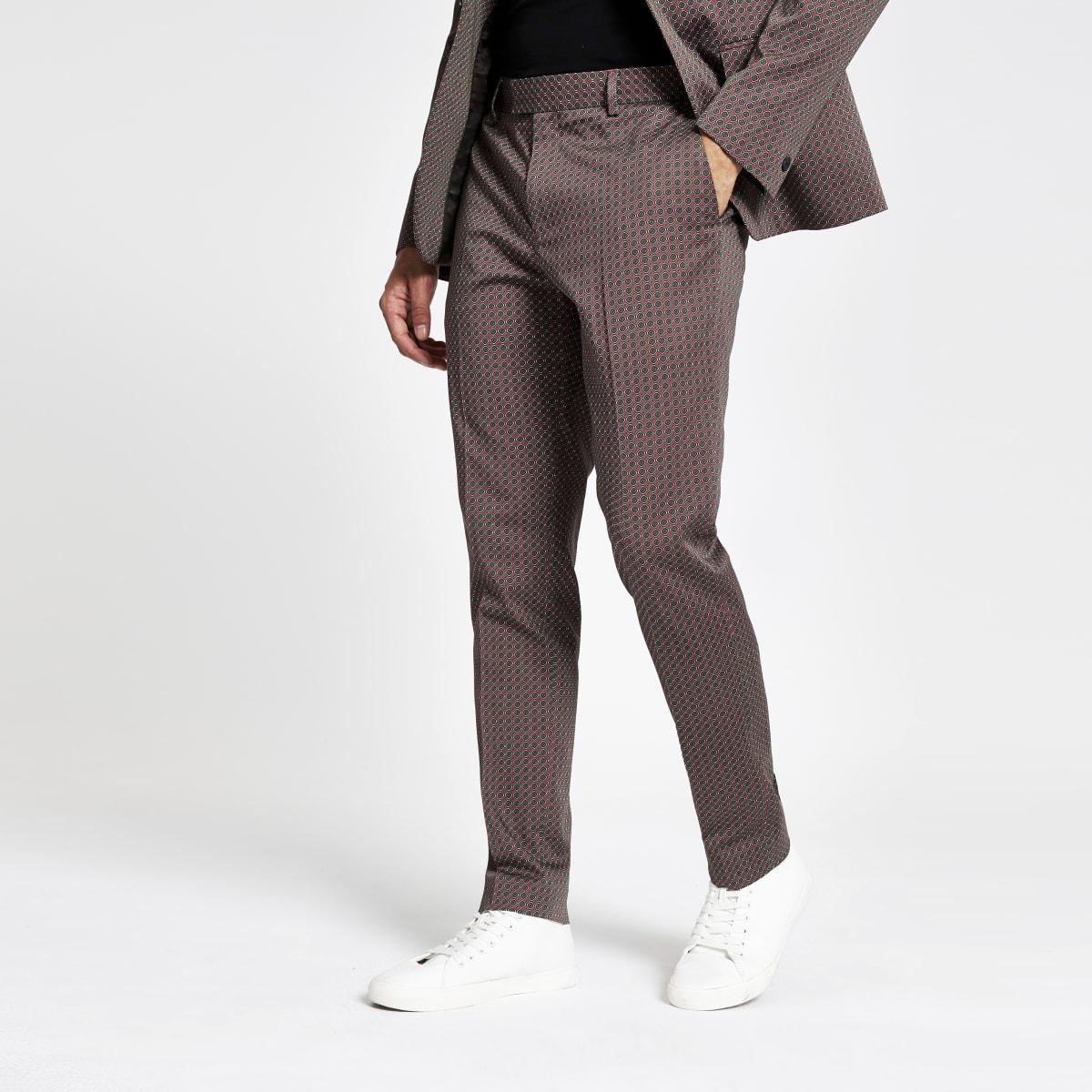 Brown geo print skinny suit pants