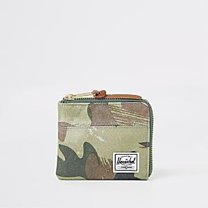 Herschel - Johnny - Groene portemonnee met camouflageprint