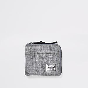 Herschel – Porte-monnaie gris zippé sur le pourtour