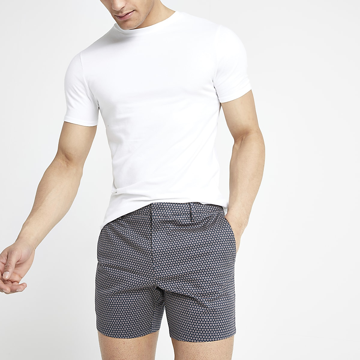 Navy geo print slim fit shorts