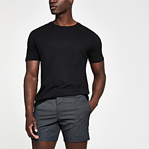 Black check slim fit shorts